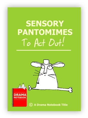 Book cover for sensory pantomimes that can be played on Zoom