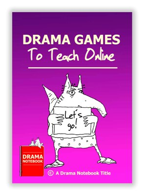 Cartoon style PDF book cover for How to Teach Drama Games Online